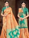 image of Fancy Art Silk Sangeet Wear Orange Saree With Weaving Work