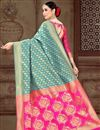 photo of Designer Cyan Fancy Art Silk Sangeet Wear Weaving Work Saree