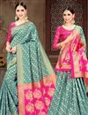 image of Designer Cyan Fancy Art Silk Sangeet Wear Weaving Work Saree