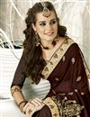 photo of Georgette Sangeet Wear Designer Brown Saree With Embroidery
