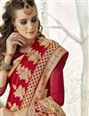 photo of Sangeet Wear Designer Chiffon Fabric Embroidered Saree In Red