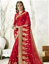 image of Sangeet Wear Designer Chiffon Fabric Embroidered Saree In Red