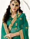 photo of Chiffon Fabric Sangeet Wear Designer Saree In Teal With Embroidery