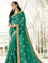 image of Chiffon Fabric Sangeet Wear Designer Saree In Teal With Embroidery
