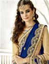 photo of Sangeet Wear Designer Chiffon Fabric Embroidered Saree In Navy Blue