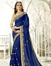 image of Sangeet Wear Designer Chiffon Fabric Embroidered Saree In Navy Blue