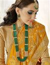 photo of Georgette Sangeet Wear Designer Saree In Mustard With Embroidery