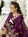 photo of Purple Sangeet Wear Designer Georgette Saree With Embroidery