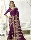 image of Purple Sangeet Wear Designer Georgette Saree With Embroidery