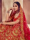 photo of Embroidery Work On Reception Wear Lehenga In Red Color Art Silk Fabric With Blouse