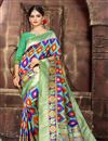 image of Weaving Work Art Silk Fabric Sea Green Color Traditional Fancy Saree