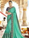 image of Cyan Party Wear Designer Art Silk Fabric Embroidered Saree