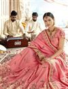 photo of Art Silk Fabric Party Wear Designer Pink Saree With Embroidery