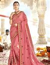 image of Art Silk Fabric Party Wear Designer Pink Saree With Embroidery