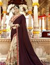 image of Party Wear Designer Art Silk Fabric Embroidered Saree In Beige