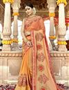image of Art Silk Fabric Party Wear Designer Saree In Orange With Embroidery
