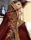photo of Party Wear Designer Brown Embroidered Saree In Georgette