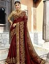 image of Party Wear Designer Brown Embroidered Saree In Georgette