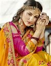 photo of Art Silk Party Wear Designer Mustard Saree With Embroidery