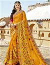 image of Art Silk Party Wear Designer Mustard Saree With Embroidery