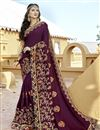 image of Purple Art Silk Party Wear Designer Saree With Embroidery