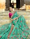 photo of Art Silk Party Wear Designer Saree In Cyan With Embroidery