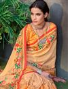 photo of Printed Art Silk Fabric Fancy Saree In Light Orange Color