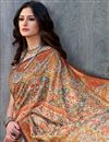 photo of Light Brown Color Casual Wear Printed Saree In Art Silk Fabric