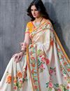 photo of Art Silk Fabric Off White Color Festive Wear Printed Saree