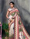 image of Beige Color Art Silk Fabric Fancy Printed Saree With Blouse