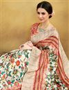 photo of Festive Wear Printed Saree In Art Silk Fabric Cream Color