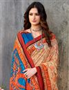 photo of Printed Orange Color Art Silk Fabric Function Wear Saree With Blouse