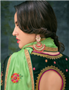 photo of Fabulous Satin Georgette Fabric Designer Dark Green Anakali With Embroidery
