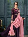 image of Fantastic Designs Satin Georgette Fabric Purple Embroidered Anarkali
