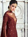 photo of Pleasing Satin Georgette Fabric Designer Brown Heavy Embroidery Palazzo Salwar Kameez