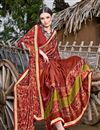 photo of Printed Chiffon Fabric Casual Wear Saree In Rust Color
