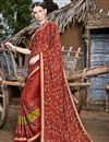 image of Printed Chiffon Fabric Casual Wear Saree In Rust Color