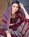 photo of Chiffon Fabric Wine Printed Casual Wear Fancy Saree