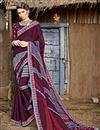 image of Chiffon Fabric Wine Printed Casual Wear Fancy Saree