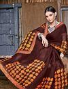 photo of Fancy Printed Casual Wear Chiffon Fabric Brown Saree