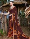 image of Fancy Printed Casual Wear Chiffon Fabric Brown Saree
