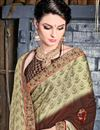photo of Printed Brown Casual Wear Saree In Chiffon Fabric