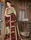 image of Printed Brown Casual Wear Saree In Chiffon Fabric