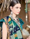 photo of Printed Casual Wear Fancy Teal Chiffon Fabric Saree