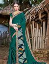 image of Printed Casual Wear Fancy Teal Chiffon Fabric Saree
