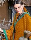 photo of Mustard Chiffon Fabric Printed Casual Wear Fancy Saree
