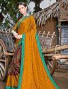 image of Mustard Chiffon Fabric Printed Casual Wear Fancy Saree
