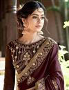 photo of Thread Embroidered Georgette Festive Wear Saree In Brown