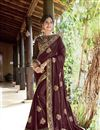 image of Thread Embroidered Georgette Festive Wear Saree In Brown