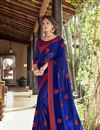 image of Georgette Blue Thread Embroidered Festive Wear Fancy Saree